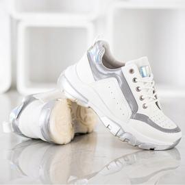 SHELOVET Sneakersy Z Eko Skóry białe szare 4