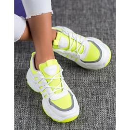 SHELOVET Wygodne Sneakersy Z Siateczką białe żółte 2