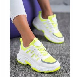SHELOVET Wygodne Sneakersy Z Siateczką białe żółte 5