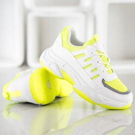 SHELOVET Wygodne Sneakersy Z Siateczką białe żółte 3