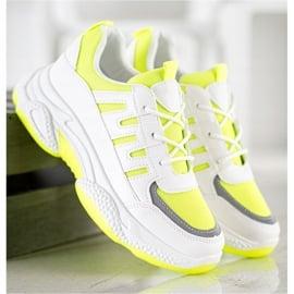 SHELOVET Wygodne Sneakersy Z Siateczką białe żółte 4