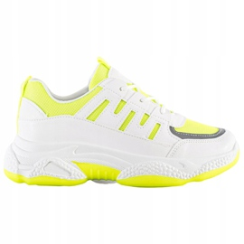 SHELOVET Wygodne Sneakersy Z Siateczką białe żółte 7