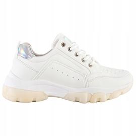 SHELOVET Sneakersy Z Eko Skóry białe 7