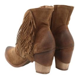 Botki kowbojki zamszowe EXQUISITE 1196 Camel brązowe 3