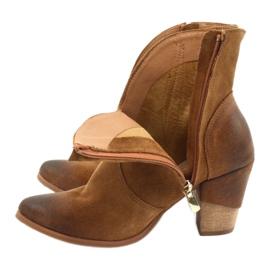 Botki kowbojki zamszowe EXQUISITE 1196 Camel brązowe 4