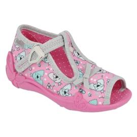 Befado obuwie dziecięce 213P120 różowe srebrny szare 1