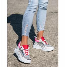 SHELOVET Stylowe Sznurowane Sneakersy białe wielokolorowe 1