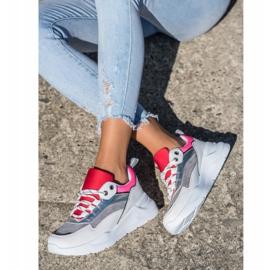SHELOVET Stylowe Sznurowane Sneakersy białe wielokolorowe 4