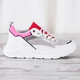 SHELOVET Stylowe Sznurowane Sneakersy białe wielokolorowe 2