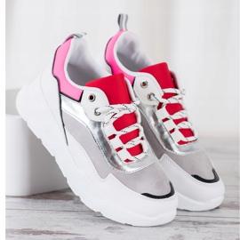 SHELOVET Stylowe Sznurowane Sneakersy białe wielokolorowe 3