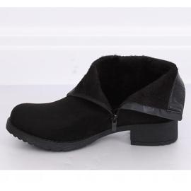Botki damskie zamsz czarne 1210D-PA Black 1