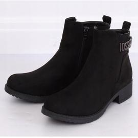 Botki damskie zamsz czarne 1210D-PA Black 2