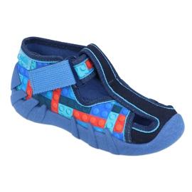 Befado obuwie dziecięce 190P095 czerwone granatowe niebieskie 1