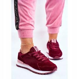 Damskie Sportowe Obuwie Sneakersy Big Star Bordowe GG274522 czerwone 2