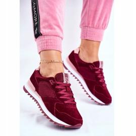 Damskie Sportowe Obuwie Sneakersy Big Star Bordowe GG274522 czerwone 3