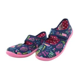 Befado  obuwie dziecięce 945Y431 granatowe różowe wielokolorowe 3