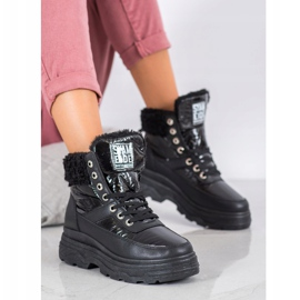 Bella Paris Sneakersy Z Kożuszkiem czarne 10