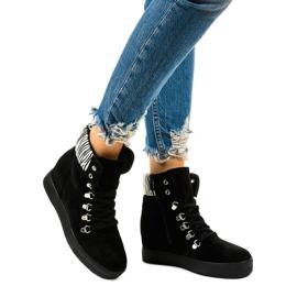 Czarne sneakersy na koturnie Kalista 1