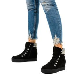 Czarne sneakersy na koturnie Kalista 2