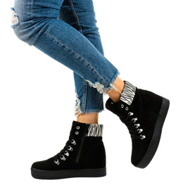 Czarne sneakersy na koturnie Kalista 3