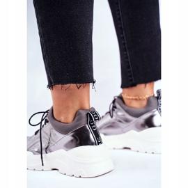 Damskie Sneakersy Goe Skórzane Pewter GG2N3040 czarne 2