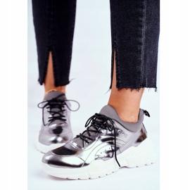 Damskie Sneakersy Goe Skórzane Pewter GG2N3040 czarne 1