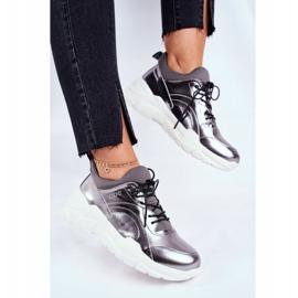 Damskie Sneakersy Goe Skórzane Pewter GG2N3040 czarne 4
