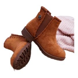 POPA Dziecięce Botki Płaski Obcas Camel Sicarro brązowe 4