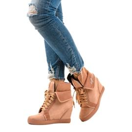 Różowe sneakersy na koturnie sznurowane B12-22 2