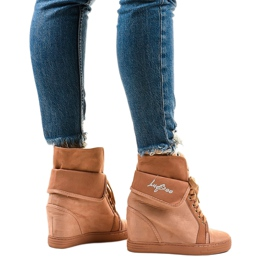 Różowe sneakersy na koturnie sznurowane B12-22 3