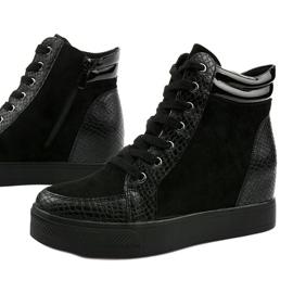Czarne sneakersy na koturnie Doreala 1