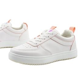 Białe trampki z różowymi wstawkami KK-203 1
