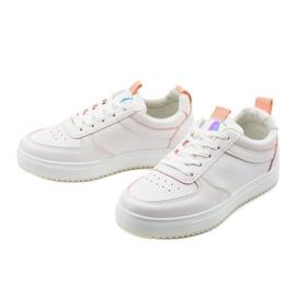 Białe trampki z różowymi wstawkami KK-203 2