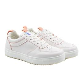 Białe trampki z różowymi wstawkami KK-203 3
