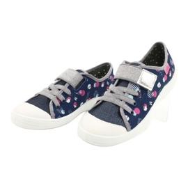Befado obuwie dziecięce 251Y149 granatowe różowe srebrny szare 3