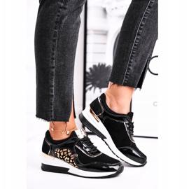 Vinceza Sportowe Damskie Buty Sneakersy Skórzane Czarne 21-7778 1