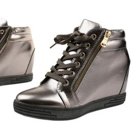 Szare sneakersy ze złotym suwakiem Aqiava 1