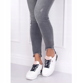 Buty sportowe damskie białe BK938 WHITE/BLUE granatowe 4