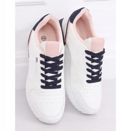 Buty sportowe damskie białe BK938 WHITE/BLUE granatowe 2