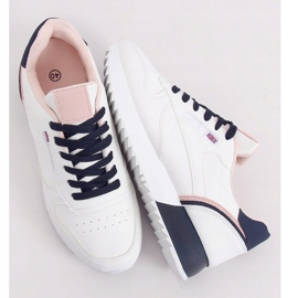 Buty sportowe damskie białe BK938 WHITE/BLUE granatowe 1