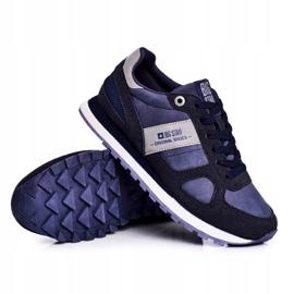 Damskie Sportowe Obuwie Sneakersy Big Star Granatowe GG274676 niebieskie szare 4