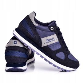 Damskie Sportowe Obuwie Sneakersy Big Star Granatowe GG274676 niebieskie szare 3