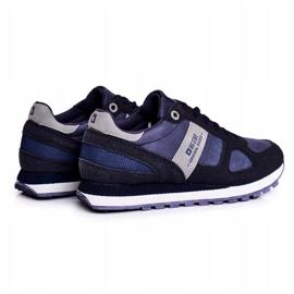 Damskie Sportowe Obuwie Sneakersy Big Star Granatowe GG274676 niebieskie szare 2