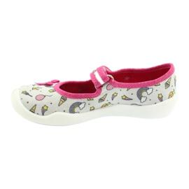 Befado obuwie dziecięce 114X392 różowe srebrny szare 2
