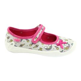 Befado obuwie dziecięce 114X392 różowe srebrny szare 1