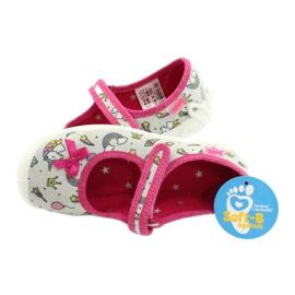 Befado obuwie dziecięce 114X392 różowe srebrny szare 5