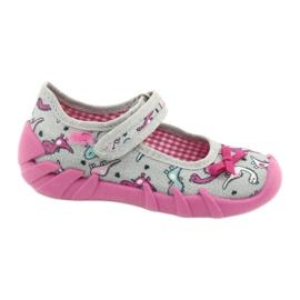 Befado obuwie dziecięce 109P204 różowe srebrny szare 1