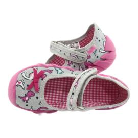 Befado obuwie dziecięce 109P204 różowe srebrny szare 5