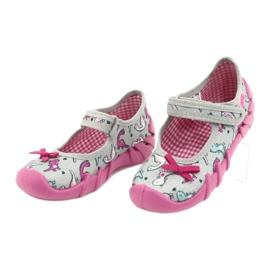 Befado obuwie dziecięce 109P204 różowe srebrny szare 3