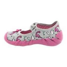 Befado obuwie dziecięce 109P204 różowe srebrny szare 2